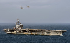 Four E-2C Hawkeyes fly over USS Ronald Reagan. (Official U.S. Navy Imagery) Tags: navy naval ship ocean carrier e2c hawkeye formation flyover philippinesea