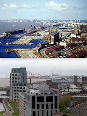 View from the Liver Building,, 1980s and 2016 2 (Keithjones84) Tags: liverpool merseyside history localhistory thenandnow rephotography liverbuilding royalliverbuilding