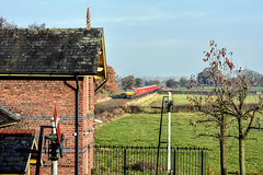 The Plumley Shot (whosoever2) Tags: plumley cheshire semaphore signal dbcargo dbs class66 66075 station sun nikon d7100 train railway railroad england unitedkingdom uk gb greatbritain