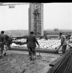 Ipswich Bovis ARC Cement mixer Willis Caroon Towers Building during Construction 1970's veiws swimming pool Smith's seed store Norman Foster Architect (Photos by Alf Jefferies) Tags: lorries bw original negatives 1970s construction wills building caroon scaffolder unseen images bovis arc cement mixer swimming pool people dangerous healthsafety