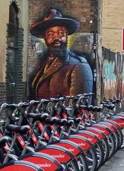 Ride Em' Cowboy (Lord Eglinton) Tags: england pavement sidewalk streetart graffiti street bicycles whitechapel cowboy london