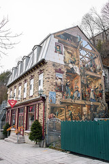 Open House (caribb) Tags: canada quebec quebeccity vieuxqubec oldquebec historic canadianhistory buildings heritage urban city 2016 downtown centreville street streets centrum neptureinn wallpainting art architecture house inn hotel old