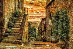 Stairs to the Val d'Orcia (Howard Brown Photographic) Tags: pienza val dorcia valdorcia tuscany toscana toscany italia italian italy photoart art photo landscape urban street alleyway alley horizon cloudsstormssunsetssunrises hdr monochrome texture textures contrasts contrast stair stairs stairway