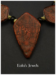 Vampire blood necklace detail (Eala's Jewels) Tags: polymer clay handmade jewelry ealajewels red blood vampire crackle faux raku ceramic wood shannon tabor tutorial bead black diamond shape old antique necklace