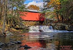 Pack Saddle Covered Bridge, Somerset County Pennsylvania (PhotosToArtByMike) Tags: autumn fall rural landscape waterfall pennsylvania country scenic pa coveredbridge brushcreek somersetcounty historicbridge packsaddlecoveredbridge