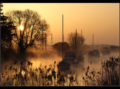 Boats in the mist.......... (Chrisconphoto) Tags: mist river boats dawn mood atmosphere dorset wareham goodlight