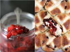 Hot Cross Strawberry Chocolate Chip Buns (Passionate About Baking) Tags: food fruit easter bread baking healthy strawberry sweet chocolate traditional vegetarian vanilla recipes yeast holidaybaking hotcrossbuns thermomix eggless buttermilkdough