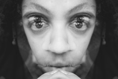 Focused (Rafia Santana) Tags: blackandwhite selfportrait face eyes double imagemanipulation eyebrows edit