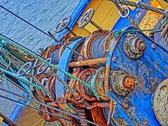 The Machine. (Thomaniac) Tags: sea abstract net colors rust decay machine vivid ropes rost hdr netz farben seile lebendig winden thomaniac casioexilimexzr100