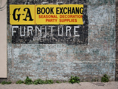 G - A (My TVC 15) Tags: street blue ontario black london lines sign yellow grey furniture seasonal decoration minimal brickwall ganda bookexchange partysupplies dundasstreeteast paintlayers panasonic14mmf25 olympusomdem5