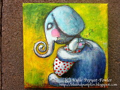 Elephant Cuddle - Kylie Pepyat-Fowler (Blissful Pumpkin) Tags: baby love whimsy hug child mixedmedia daughter mother parent cuddle whimsical kyliefowler kyliepepyatfowler blissfulpumpkin