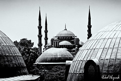 Blue Mosque (Micha Olszewski) Tags: architecture turkey blackwhite europe minaret istanbul mosque dome land bluemosque religiousbuildings sultanahmedcamii architecturalfeature