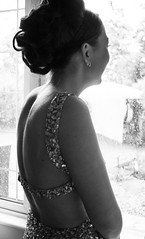 Isabella (Francesca Delanty-Granger Photography) Tags: party portrait blackandwhite bw woman white black girl smile silver hair gold evening back women long dress metallic event prom laugh embellishment gb brunette embellished bun backless updo