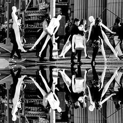 NYC GARMENT DISTRICT - TAKE TWO (Parallel.....) Tags: street nyc newyorkcity people blackandwhite white newyork black us mannequins crossing manhattan midtown pedestrians streetpeople garment garmentdistrict midtownmanhattan paulinabaez