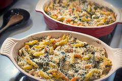 Chicken & Swiss Chard Pasta Bake (Warriorwriter) Tags: food chicken cooking vegetables dinner crust cuisine eating farm cook casserole pasta organic parmesan wholesome penne foodie epicurean swisschard panko