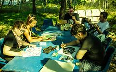 Hard at work (N-Sarn) Tags: art festival illustration project painting island hall mediterranean experimental drawing culture croatia fringe machinery event masks artists shipyard happening adriatic lussino 2013 malilošinj lošinj škver