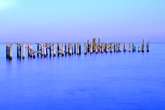 Broken Pier Series Continued (KatieWhitaker) Tags: ocean wood longexposure blue broken water reflections river golden wooden nikon purple natural piers magic tranquility calm le hour hudson nikkor tones destroyed 2470 leebigstopper