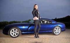 Tall girl, low car (Fast an' Bulbous) Tags: summer england woman hot sexy girl car june evening high nikon warm highheels power gimp fast heels tall brunette tamron coupe v8 tvr cerbera offcameraflash worldcars d300s