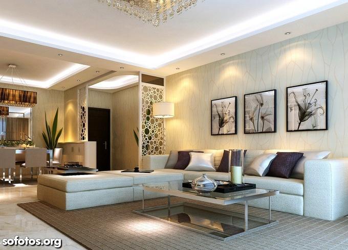 sala de estar decorada teto de gesso