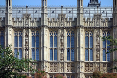 Palace of Westminster, detail with windows, west facade