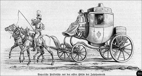 Bayerische Postkutsche aus der ersten Hälfte des 19. Jahrhunderts. Stagecoach in Bavaria