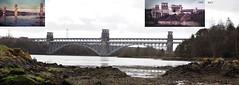 Britannia Bridge-Menai-Straits-1959 (rail) & 2015 (+ motorway) (wombalano) Tags: history wales menaistraits britanniabridge wombalano