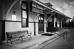 R1-020-8A (David Swift Photography Thanks for 18 million view) Tags: davidswiftphotography newjersey oceancity busstations trainstations transportation historicbuildings historicpreservation 35mm signs njtransit leicaminilux ilfordxp2 architecture victorianbuildings