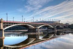 Warsaw Brigde & Stadium (Strocchi) Tags: warsaw river varsavia fiume cielo sky clouds nuvole stadium stadio vistola reflection riflesso canon eos6d 24105mm mostponiatowskiego hdr