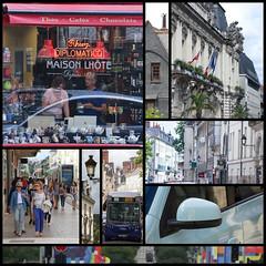 Walking Around Tours (haberlea) Tags: walking touraine tours mosaic street shop shopwindow reflection window pedestrians flags bus loirevalley