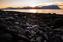 Sunset (Bente Nordhagen) Tags: seascape sunset stones sea mountains