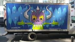 Horned Helmet (edenpictures) Tags: graffiti truck helmet horns spikes fangs teeth manhattan newyorkcity nyc