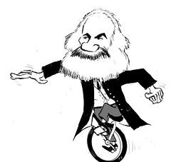 Karl Marx on a Unicycle (Midge D) Tags: marxism capitalism krita cartoon marx unicycling unicycle socialism marxist