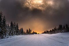 november-4 (Odar Gofot) Tags: winter road norway sunset god trees landscape snow ice tree forest