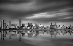 The Pool of life (Luke Hanna) Tags: liverpool cityscape city uk long exposure water mersey liver birds three graces docks sky reflection clouds black white monochrome