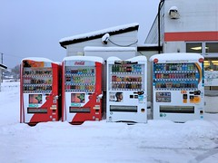 Cold Drinks (sjrankin) Tags: 29november2016 edited vendingmachine drinks softdrinks tea coffee yubari hokkaido japan snow cold winter parkinglot