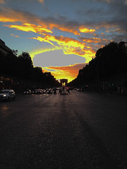 Arc de Triomphe (THISMA.inc) Tags: iphone iphone4s yellow orange bleu jaune soir evening sunset 2015 could clouds nuage champs champslyses city blue sky paris arc de triomphe place ltoile