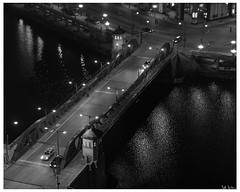 Franklin Street Bridge at Night (swanksalot) Tags: bridge bw reflection water orleans nocturne night taxi blackandwhite franklin 50mm chicago chicagoriver explored 350norleans fav10 fav20 fav30 faved urbanseens