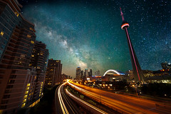 Milky Way over the Gardiner (Jim U) Tags: toronto night cntower explore 16 gardiner astrophoto milkyway gardinerexpressway sony900 rokinon14mm28edasifumc