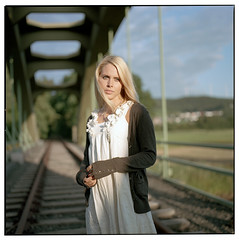 . (| Mario |) Tags: railroad light woman 6x6 girl beautiful beauty fashion square natural kodak awesome hasselblad blonde epson medium format portra 500cm 160nc v700 cf80