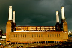 Battersea Power Station (benjicarter) Tags: uk london rainbow moody derelict wandsworth cloudysky batterseapowerstation darksky industrialbuilding