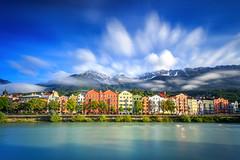 Bank of Inn (Gerg) Tags: city houses alps canon river austria spring big long exposure lee 1740mm innsbruck stopper polariser