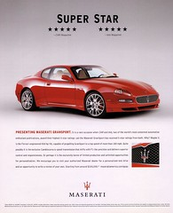 Maserati GranSport (2006) V8 Super Star (H2O74) Tags: auto red rot car sport magazine ads advertising stars rouge star rojo hp automobile publicidad 5 ad fast automotive super 2006 ps f1 ferrari voiture advertisement anncio coche 400 advert carro gran werbung quick rosso occasion publicit coupe 42 v8 reklame maserati sporty coup 5star evo sportscar publicitario sterne adverts automvil anzeige cambiocorsa fnf schnell automobil gransport sportwagen pkw 6speed kfz sportswagon exclusivity feuerrot kraftfahrzeug dunkelrot werbungen supersportwagen sportcoup