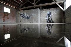 Vinie + Rea (Chrixcel) Tags: girl graffiti 3d eau noiretblanc hangar reflet graff rea usine flaque personnage parpaings friche vinie