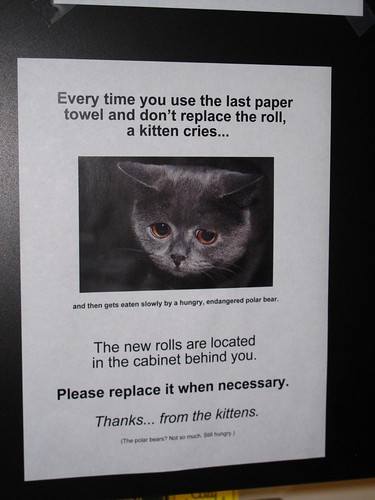 Every time you use the last paper towel and don't replace the roll, a kitten cries (and then gets eaten slowly by a hungry, endangered polar bear. The new rolls are located in the cabinet behind you. Please replace it when necessary. Thanks...from the kittens. (The polar bears? Not so much. Still hungry.)