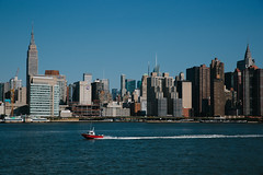 New York City, this morning (Dmitry Gudkov) Tags: newyorkcity summer skyline boat manhattan eastriver empirestatebuilding chryslerbuilding eastriverferry