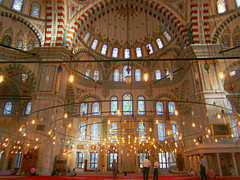 Mosque of Fatih (fran_1911) Tags: city red art turkey gold lights luces rojo asia europa europe ataturk muslim istanbul mosque ala mezquita horn turquia turkish fatih estambul mahoma islamismo