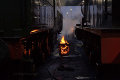 Frost Protection. (MickyB1949) Tags: winter cold fire nightshot leicestershire shed railway steam loughborough preservation steamtrain olivercromwell brazier greatcentralrailway gcr q6 70013 63395