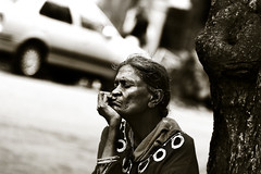 old woman (photorgasmm) Tags: poverty old people woman india streets monochrome sepia homeless poor streetphotography mumbai potrait bnw flickrandroidapp:filter=none