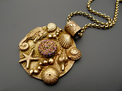 Bronze Sealife with Druzy (Mango Tango Designs) Tags: sea horse bronze fire necklace team seahorse starfish ooak fast sealife urchin pendant conch emc hallmarked cabochon drusy druzy bronzclay