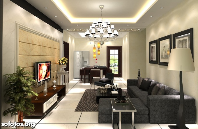 sala de estar com gesso, lustre e abajur